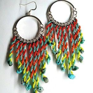 Handmade Twisted Elements Hoop Beaded Earrings